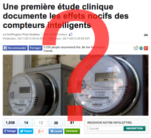 Article sur les compteurs intelligents dans le Huffington Post Québec